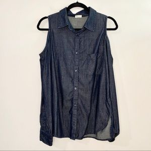 Ag Adriano Goldschmied Tops - ADRIANO GOLDSCHMIED Cold Shoulder Denim Shirt